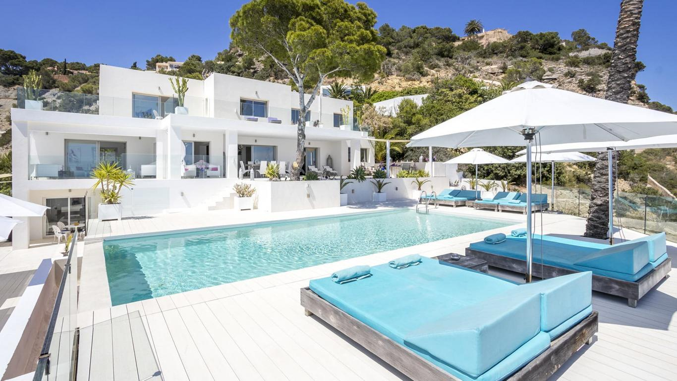 Luxury Villa White Pearl in Es Cubells in the South of Ibiza Island, Spain.
