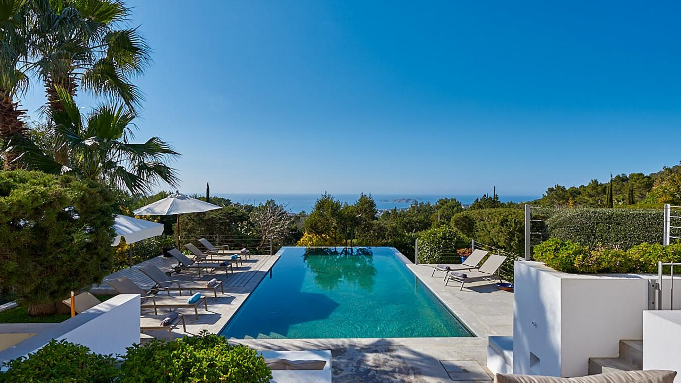 Modern and  Luxury Villa Julia located on a hill at the top of Cala Tarida