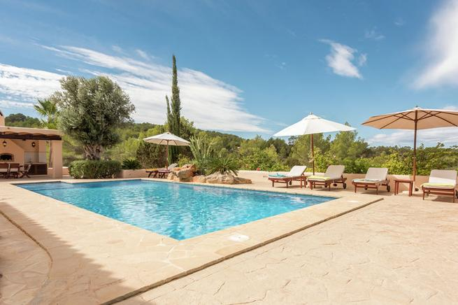 Luxury villa with Mediterranean style near the beach of Cala Tarida, Ibiza